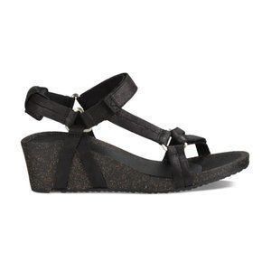 Teva Leather Wedge Sandals, Black, Sz 6W